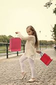 Kid Girl With Long Hair Fond Of Shopping. Fashionista Girl Shopping With Pink Bags. Shopping Concept poster