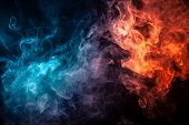 Abstract Art Colored Smoke Red And Blue On Black Isolated Background. Stop The Movement Of Multicolo poster