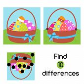 Find The Differences. Educational Children Game. Kids Activity Fun Page. Easter Theme poster