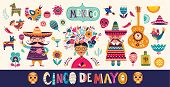 Mexican Collection. Beautiful Vector Illustration With Design For Mexican Holiday 5 May Cinco De May poster
