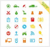 Colorful set of 29 sticker icons - part 3