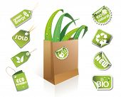 Paper bag - eco idea with stickers and tags