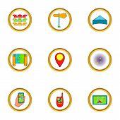 Navigator Icons Set. Cartoon Set Of 9 Navigator Icons For Web Isolated On White Background poster