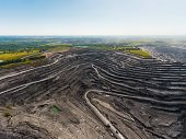 Panoramic Aerial View Of Abandoned Coal Mine. Canned Quarry. Open Coal Mining, Antarcite Mining poster