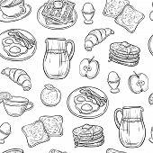 Breakfast Doodle Pattern. Pancakes Jam Cheese Yogurt Sausage Tea Bread And Eggs Sketch Seamless Vect poster