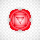 Root Chakra Muladhara In Red Color Isolated On Transparent Background. Isoteric Flat Icon. Geometric poster