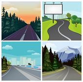 Road To Town. Outside Highway Street Scenic Different Types Of City Road Vector Landscape. Road Trav poster