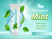 Mint Toothpaste. Dent Protection Oral Care Advertizing Placard Vector Realistic Template. Antibacter poster