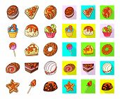 Vector Design Of Dessert And Sweet Logo. Set Of Dessert And Food Vector Icon For Stock. poster