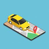 Flat 3d Isometric Car Use Gps Map Navigation Application On Smartphone. Mobile Gps Map Navigation Te poster