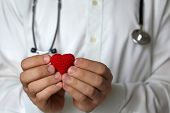 Doctor With Stethoscope Holding Red Knitted Heart In Hands. Concept Of Cardiology, Heart Diseases, D poster