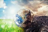 Earth Is Chancing Due To Pollution And Undifferentiated Trash. Save The World. World Provided By Nas poster