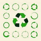 Recycle Arrows Vector Set - Ecology Icons Collection. Illustration Of Recycle Arrow, Reuse And Recyc poster