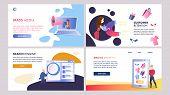 Online Marketing Set Of Vector Color Templates. Online Advertising Strategy. Mass Media, Online Shop poster