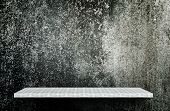 Empty Gray Dark Cement Display Table Counter Shelf Background Product Display Copy Space For Display poster