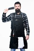 Bearded Hipster Wear Apron For Barbecue. Tips Cooking Meat. Tools For Roasting Meat Outdoors. How Ch poster