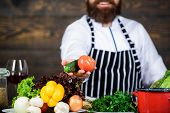 Man Bearded Hipster Wear Apron Cooking Healthy Food. Vegetarian Lifestyle. Chef Prepare Delicious Me poster