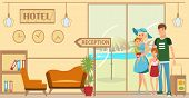 Family Checking In At Hotel Flat Illustration. Couple Arrives To Resort. Hotel Lobby And Reception I poster