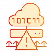 Cloud Cyber Attack Flat Icon. Ddos Server Hack Orange Icons In Trendy Flat Style. Server Attack Grad poster
