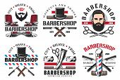 Barber Shop Haircut And Shaving Icons. Vector Man With Hairstyle, Beard And Mustaches, Retro Razor B poster