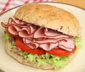 Ham, lettuce and tomato in a wholewheat granary bap.
