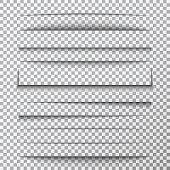 Paper Shadows Set On Transparent Background. Page Divider With Shadows. Realistic Paper Shadow Line  poster