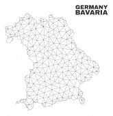 Abstract Bavaria Land Map Isolated On A White Background. Triangular Mesh Model In Black Color Of Ba poster