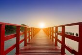 Long Bridge At Sea View On Morning Seascape Sunrise Background poster