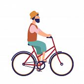 Bearded Hipster Man In Hat And Casual Clothes Riding City Bike. Funny Male Character On Bicycle. Ped poster