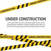 Under Construction Website Page. Under Construction Tape Warning Banner Vector poster