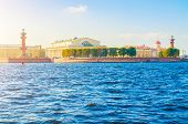 Vasilievsky Island Spit,  Saint Petersburg, Russia - Panoramic Landmark View. Sunny View Of St Peter poster