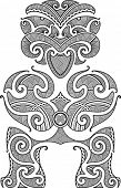Tiki the first man. Maori style tattoo design. Vector illustration.