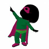 Little Super Hero Girl Illustration Silhouette