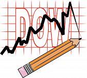 Bleistift mit Liniendiagramm und Grid Dow.