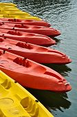 Colorful canoe or kayaks