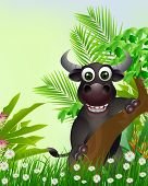 cute buffalo cartoon smiling with tropical forest background