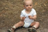 Cute Baby Boy Sitting Ground Park Outdoor