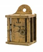 Retro Wooden Clock Box Mechanism Residue Isolated