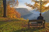Man Enjoying An Early Morning Sunrise At Letchworth State Park