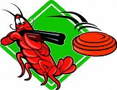 picture of crawdads  - Illustration of a crayfish lobster skeet target shooting using shotgun rifle aiming at flying clay disk with diamond shape in background done in cartoon style - JPG