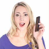 Sorprendido el joven rubia con teléfono celular