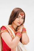 picture of bangla  - Beautiful Bangali bride in colorful dress isolated - JPG