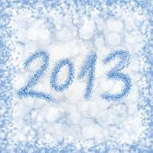 Blue and white bokeh 2013 year number