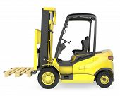 Yellow Fork Lift Truck, With A Pallet
