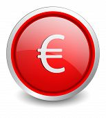 Euro red button - design web icon