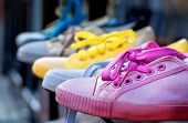 Colourful Plimsolls In A Row