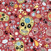 floral texture with decorative skulls