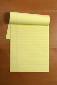 picture of stenography  - A blank legal pad on an office desk - JPG