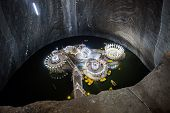 Underground Lake Inside Turda Salt Mine