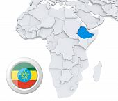 picture of ethiopia  - 3D modeled Map of Africa with highlighted state of Ethiopia with national flag - JPG